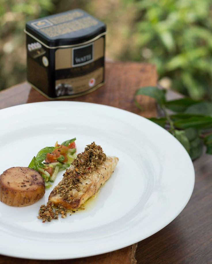 Tea Smoked Fish served with a seared scallop, tea and ginger crumb ...