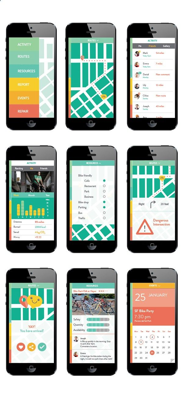 VeloCity: An app for the urban bike commuter. on AIGA Member Gallery About: Mobile App Concept and Design Creation of a concept for a mobile app, considering audience and user interaction design wireframes and develop it further until the final look. Velocity is an app for urban bike commuters, it helps you calculate the best routes according to your preferences: bike lanes, avoiding hills or traffic, road conditions, etc. You can also keep track of your miles, calories burned or CO2 s...
