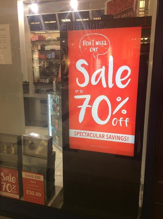 Sale Sunday! Why not visit us tomorrow and grab a sale bargain? We are open 10am to 5pm, happy shopping!   #sale #bargain Boots UK, Superdry.,  Fat Face, Beaverbrooks the Jewellers, The Perfume Shop, schuh, Smiggle,  River Island,  Yours Clothing,  USC (clothing retailer), Oasis Fashion,  Topshop The Fragrance Shop #fashion #style #clothing