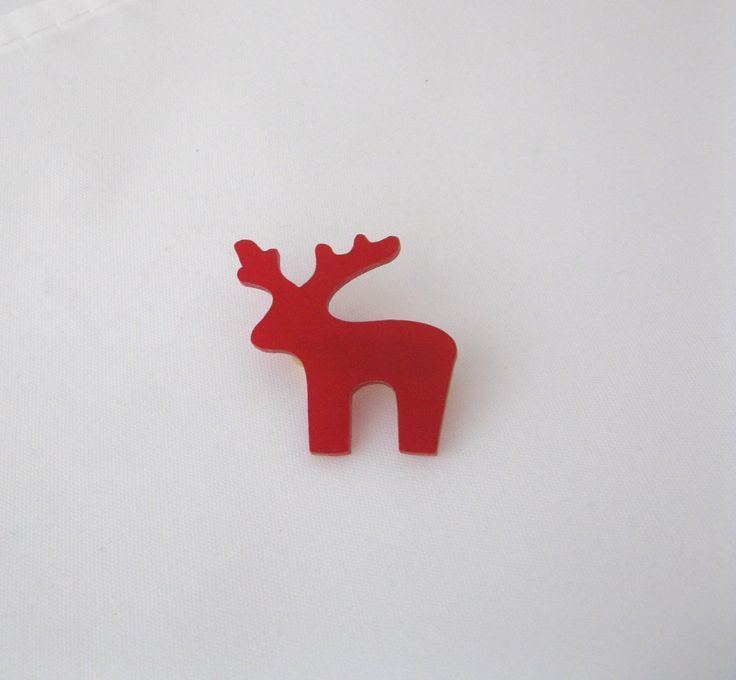 Little Red Reindeer Brooch. Acrylic Deer Brooch. by BunnaAndDooDesigns on Etsy