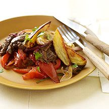Weight Watchers Lomo Saltado...  I made this for dinner tonight and it is honestly our new absolute favorite!  So delicious.  Instead of marinating the beef in lime juice, though, I read that a more authentic preparation is to use red wine vinegar and soy sauce, so I did that instead.