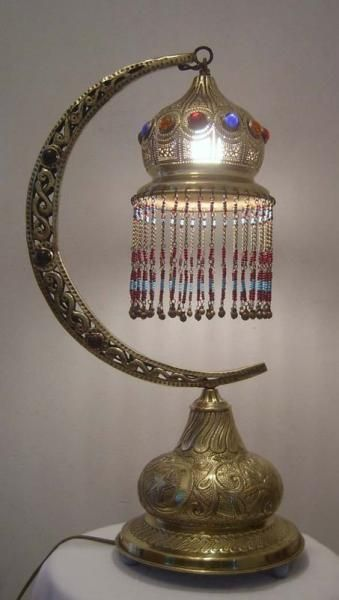 Half Moon Handmade Beaded Moroccan Table Lamp. One of a kind!!
