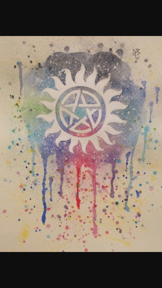 For supernatural lovers. Paint drip anti possesion symbol