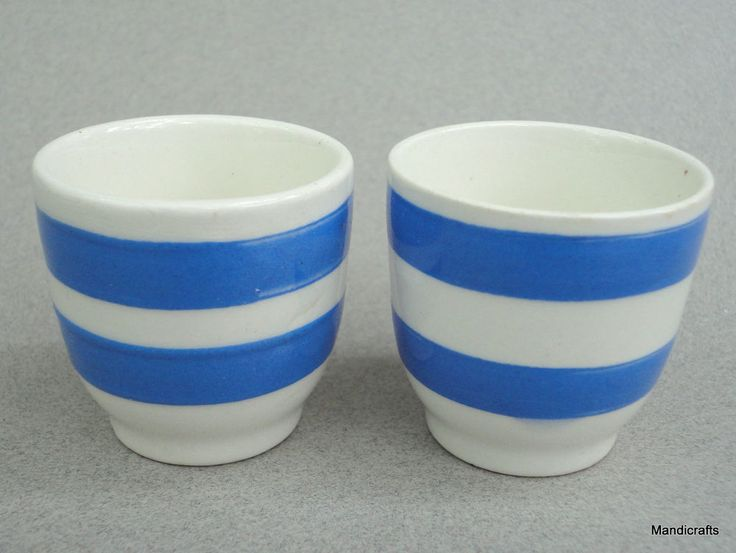 Egg Cup x 2 Carrigaline Ireland 1950s Cornish Blue Band Stripe Pair Vintage