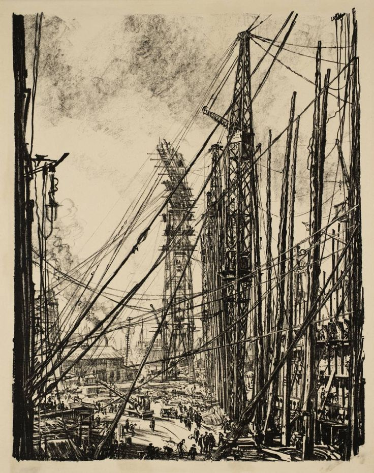 "Sir Muirhead Bone(1876‑1953)  ""Building Ships: A Shipyard""  1917  Lithograph on paper  464 x 363 mm"