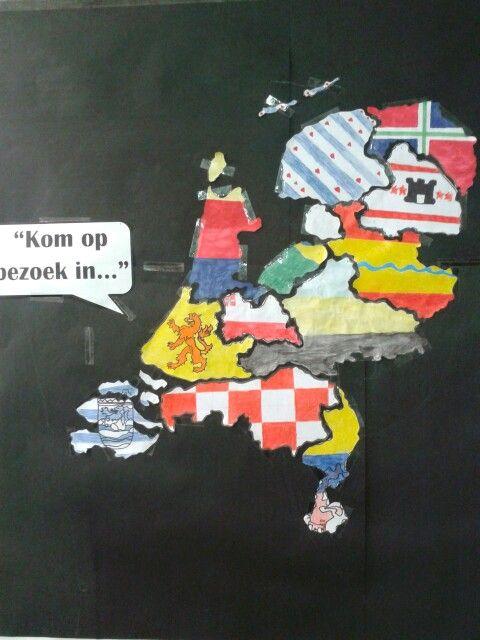 Puzzelkaart provincies gemaakt Door leerlingen in thema Nederland