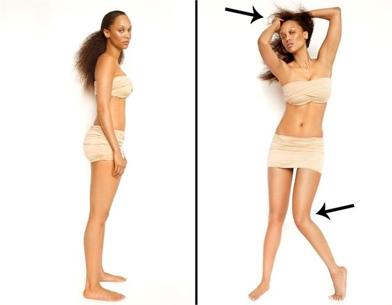 How To Work Your Flaws  Knees In = Slimmer Hips. Turning a knee in will make your hips appear slimmer. This will also give you a space between your thighs, which is something that most women don't have.