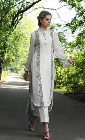 Buy White Embroidered Chiffon Salwar Kameez by Threads and Motifs