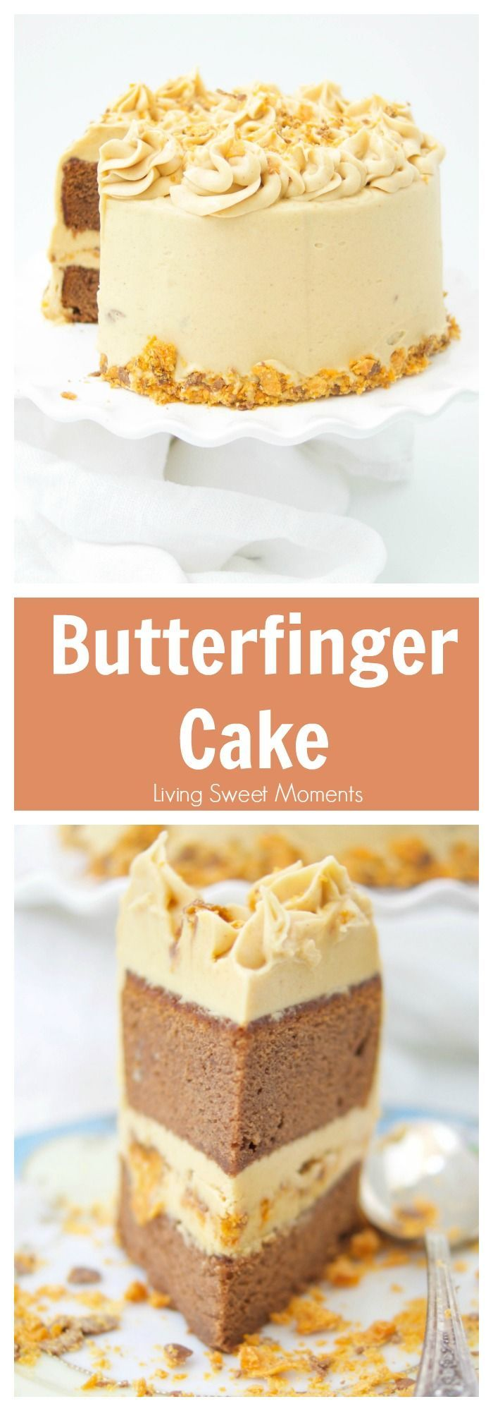 This delicious Butterfinger Cake Recipe dessert is made from scratch and features a moist chocolate cake with peanut butter frosting and butterfingers. More cake recipes on livingsweetmoments.com
