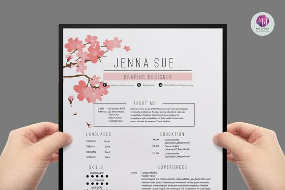 Super chic resume template by Chic templates on Creative Market                                                                                                                                                                                 Mehr