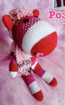 Розовая зебра из носков