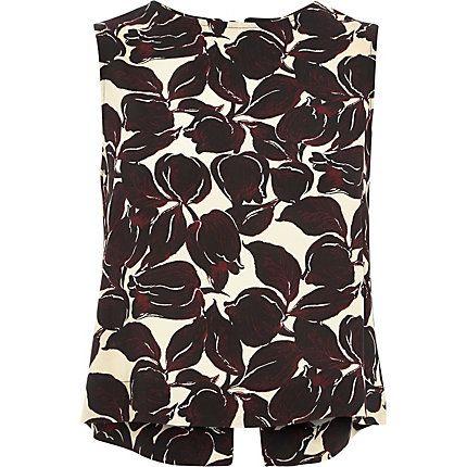 Beige tulip print bow back tank top £24.00