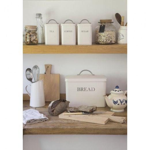 Garden Trading Bread Bin, Coffee, Tea & Sugar Canisters Stone Set of 4 - Garden Trading from Hurn & Hurn UK