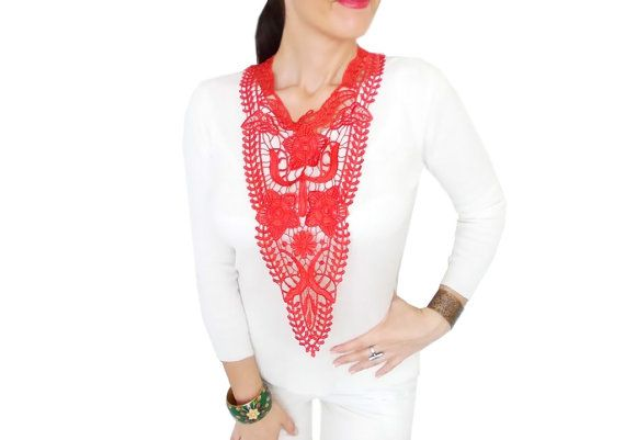 Red lace statement bib necklace, Christmas necklace, Gothic, Fashion Blogger, FREE SHIP, For her, Beauty Of The Night Necklace