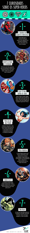 #SevenList #Art #Infográfico #CapitãoAmérica #curiosidades #DCComics #Entretenimento #Heroína #HomemAranha #Homemdeferro #Hulk #Marvel #MulherMaravilha #Quadrinhos #Super-heróis #Superman #TheFlash