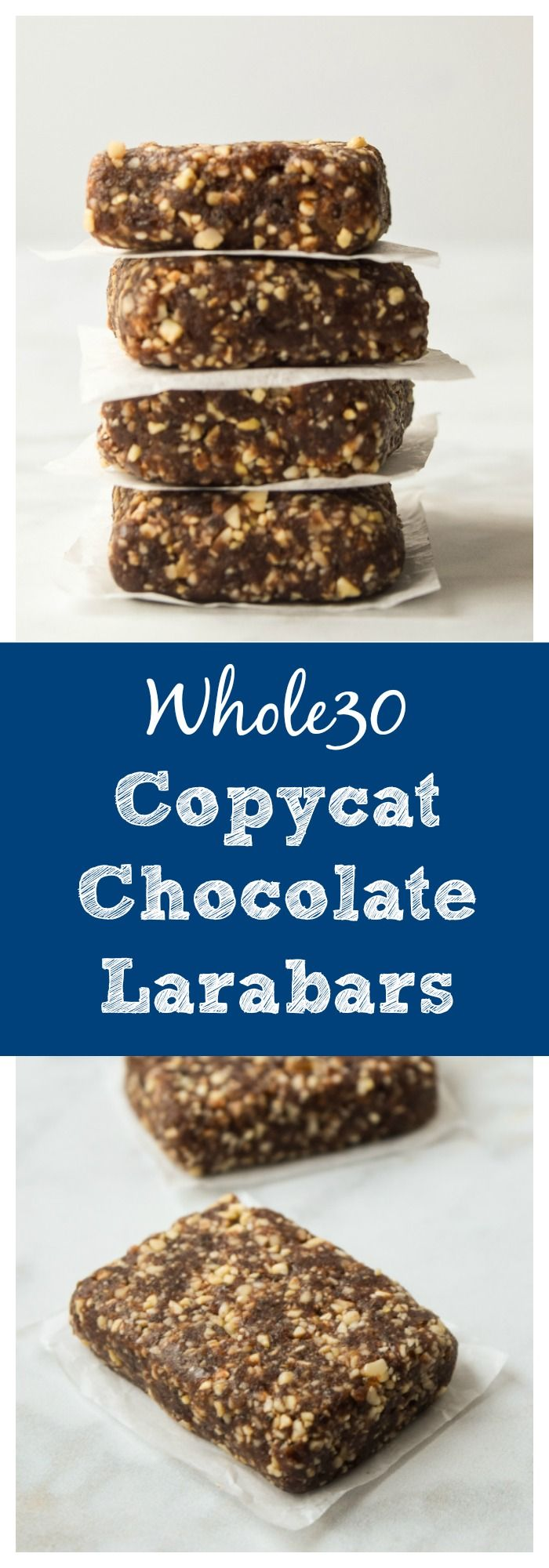 Easy Homemade Chocolate Larabars (Whole30 Paleo) - a sweet, chocolatey, protein-packed snack made with only 3 ingredients, perfect for grab-and-go and so easy to make! | tastythin.com