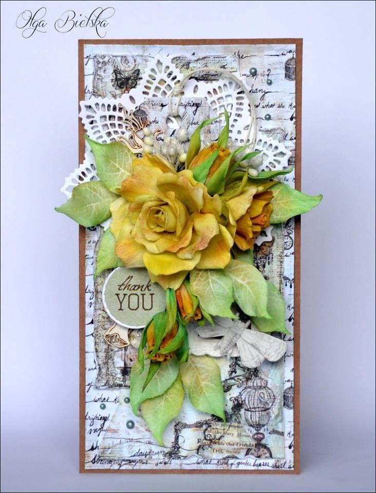 Kartka z różami z foamiranu.