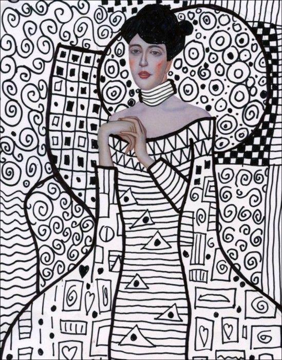 Klimt Line Art | Art Projects for Kids. NEW PDF template available. #artprojectsforkids #klimt #