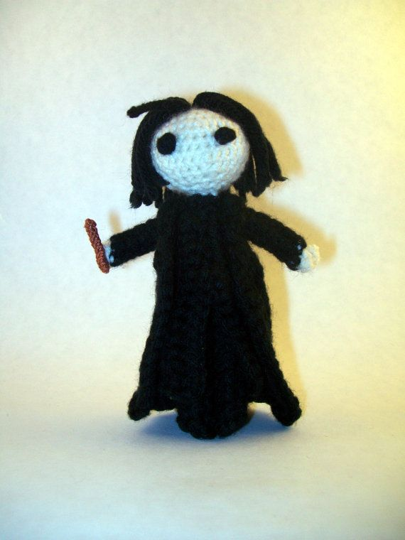 Alan Rickman as Severus Snape from Harry Potter with Wand and Potion Cauldron ( Handmade Crochet Doll ) by PaintsAndNeedles