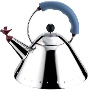 Kettle by Michael Graves for Alessi Bird Red - hot Blue handle - cold Black - neutral