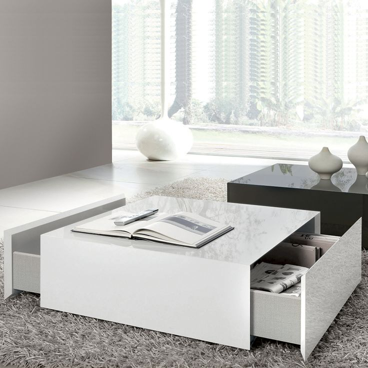 Tiffany White High Gloss Square Coffee Table Furniture: Box Square Coffee Table With 2 Drawers, White High Gloss