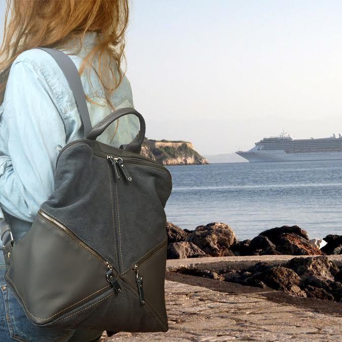Backpack,shoulder bag ,canvas -leather ,Handmade ,named IRIA by iyiamihandbags on Etsy