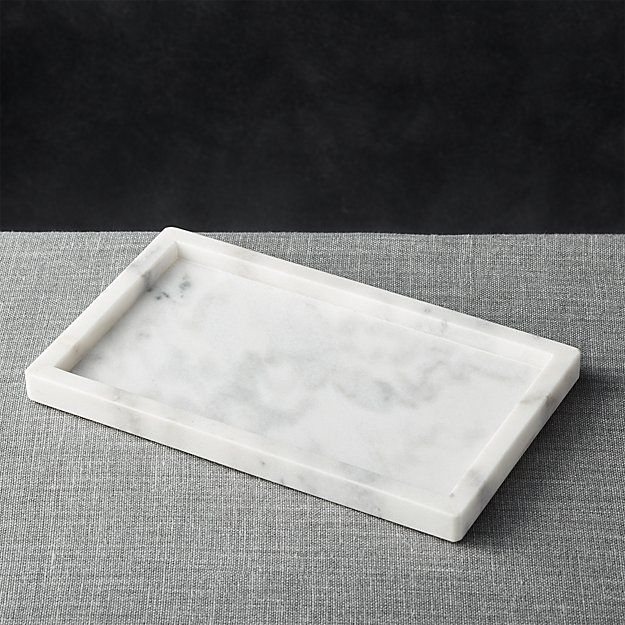 Pure and simple, this marble tray is the perfect size to house oil and vinegar cruets for the buffet, flavored syrups and garnishes on the bar and creamer and sugar for coffee service.