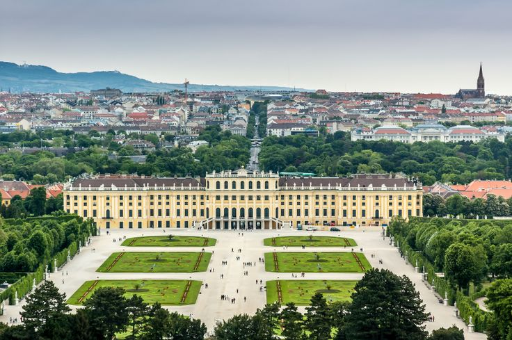 Castles of the World   Beautiful view of famous Schonbrunn Palace with Great Parterre garden in Vienna, Austria #castles #travel