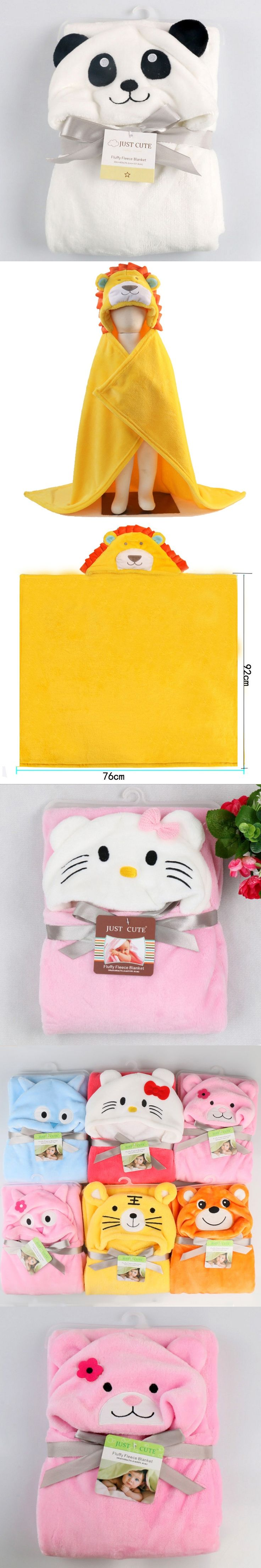 Baby Flannel Bath Towel Various Cartoon Design Cute Animal Panda KT Tiger Hooded Towel super Soft Cloak New Arrived For Newborn