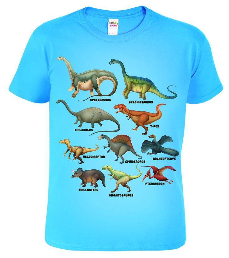 Dětské tričko s nejznámějšími dinosaury jako byl Tyrannosaurus Rex, Brontosaurus, Diplodocus, Velociraptor, Triceraptos aj. Krásný dárek pro milovníky dinosaurů.