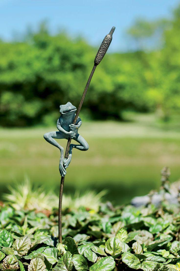 Frog and Cattail Garden Stake   Gardener's Supply