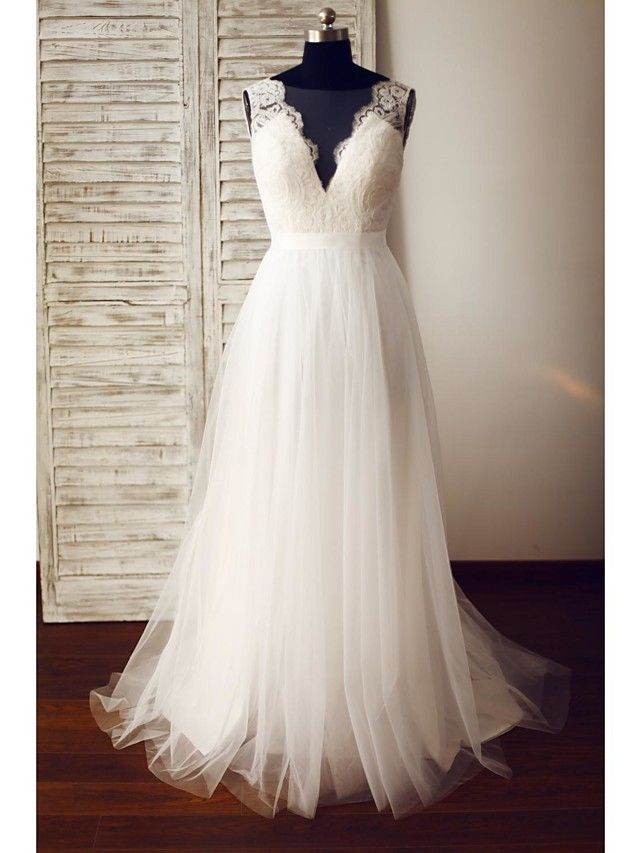 A-line Wedding Dress - Glamorous & Dramatic See-Through Wedding Dresses Sweep / Brush Train V-neck Lace / Tulle with Lace / Button - USD $139.99
