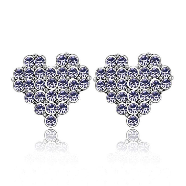 Austrian Crystal Stud Earrings - Heart and Soul