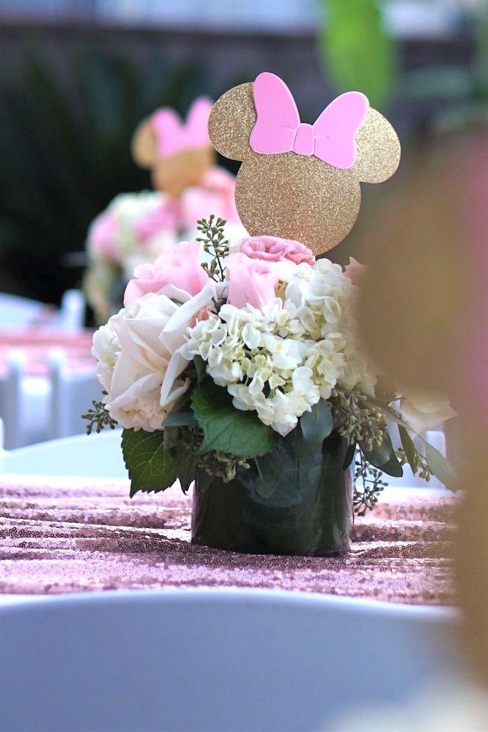 Glamorous Floral Minnie Mouse Birthday Party Minnie Birthday