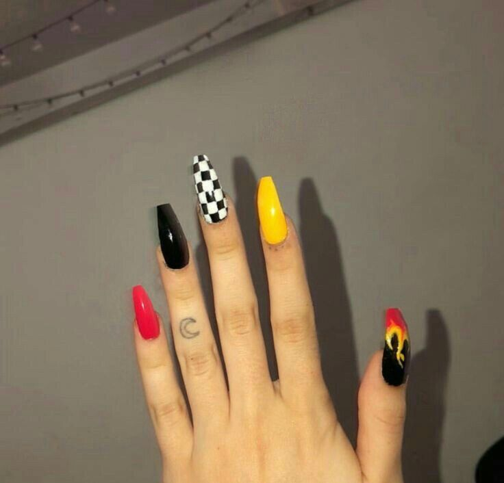 Nails Tumblr Red Yellow Flame Vintage Checkerboard Checkered Nails Fire Nails Grunge Nails