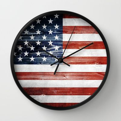 American flag Wall Clock by Nicklas Gustafsson - $30.00