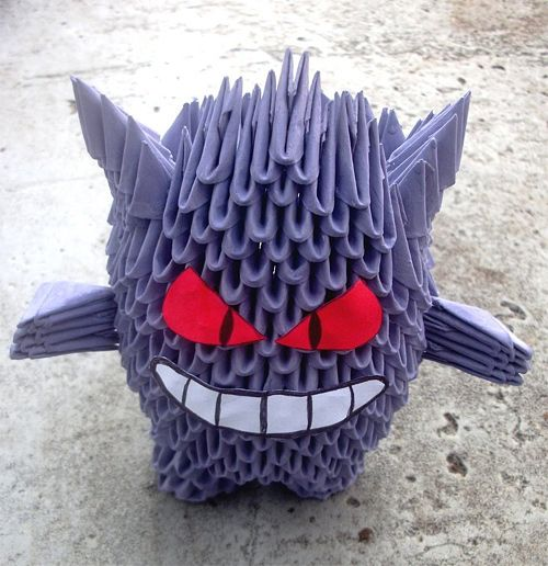 Gengar pokemon origami artwork paper design
