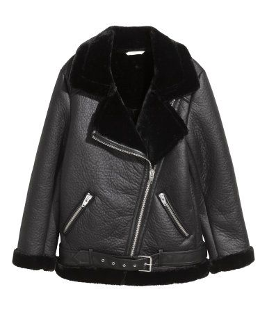 Oversized biker jacket | Black/Imitation leather | LADIES | H&M IL