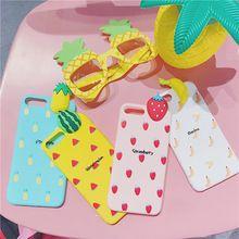 Frutos do verão 3D Caso de Telefone Silicone Macio para o iphone 7 plus 7 6 6 s Mais Melancia/Morango/abacaxi/Banana Caso Bonito 6 splus(China)