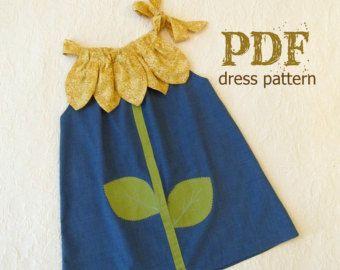 Ähnliche Artikel wie Sonnige Blumen Kissenbezug Kleid - Mädchen Weihnachten Kleid Muster PDF.  Kinder Kinderkleidung.  Einfach nähen Größen 12m durch 10 enthalten auf Etsy
