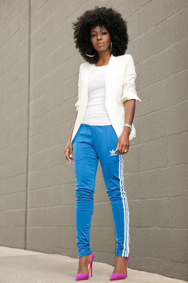 white blazer  tank  adidas track pants  my style