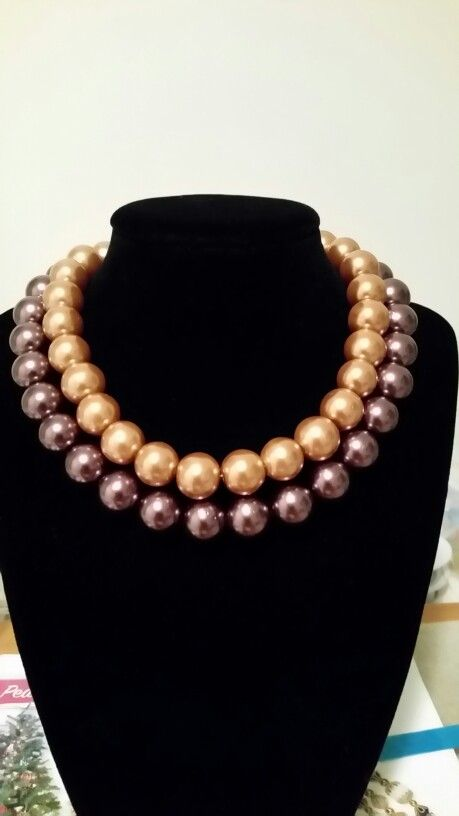 Double glass pearl necklace...chocolate & caramel