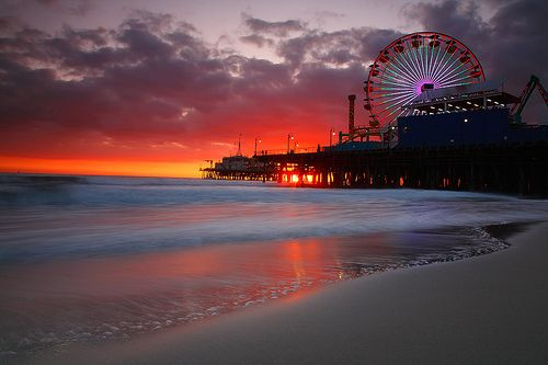 Santa Monica Beach. I love going there even if they water is dirty lol