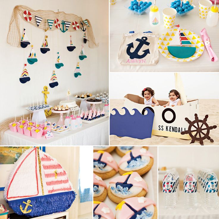 An Adorable Little Sailor Girl First Birthday Party! Fish net would make adorable decoration with starfish and seahorses!