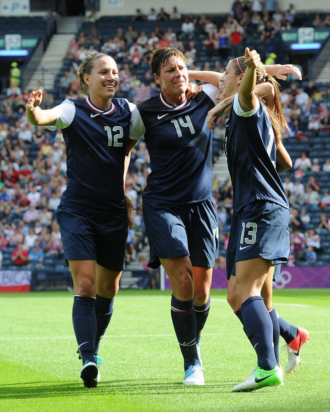 Lauren Cheney Abby Wambach And Alex Morgan In The Us S First 2012 Olympic Match Against