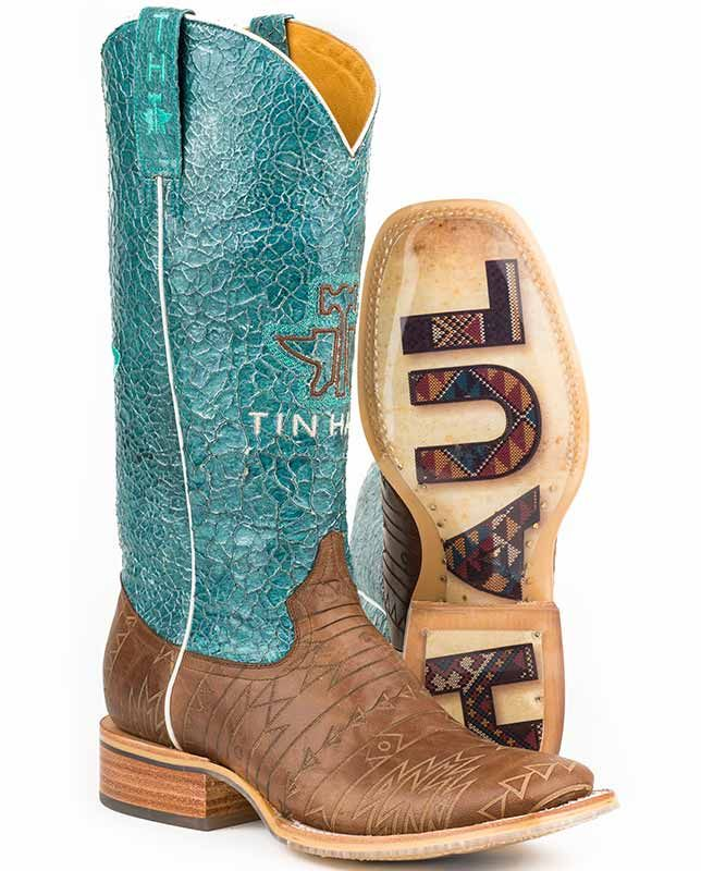 "Tin Haul Women's 13"" Turquuoise and Brown Aztec Tooled Square Toe Boots"