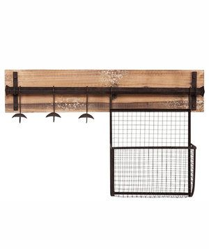 Loose mail, jackets, and backpacks will all have a home of their own on this rustic wall storage piece. The built-in mesh basket can corral keys and checkbooks, while the three hooks can be used to hang bulky winter coats.