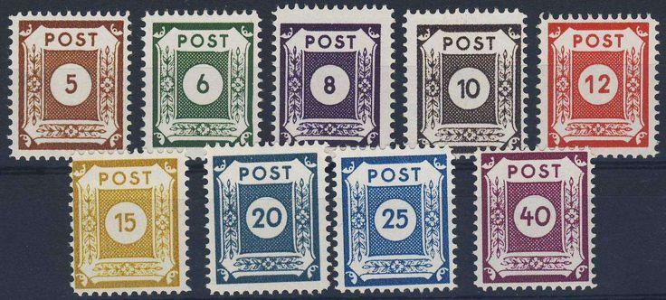 German Russian Occupation, SBZ 1945, Ostsachsen, Zähnung Coswig III, 5 Pfg. - 40 Pfg., postfrisch Pracht (postfr., Mi.-Nr.42-50 D III/Mi.EUR 360,--). Price Estimate (8/2016): 90 EUR.
