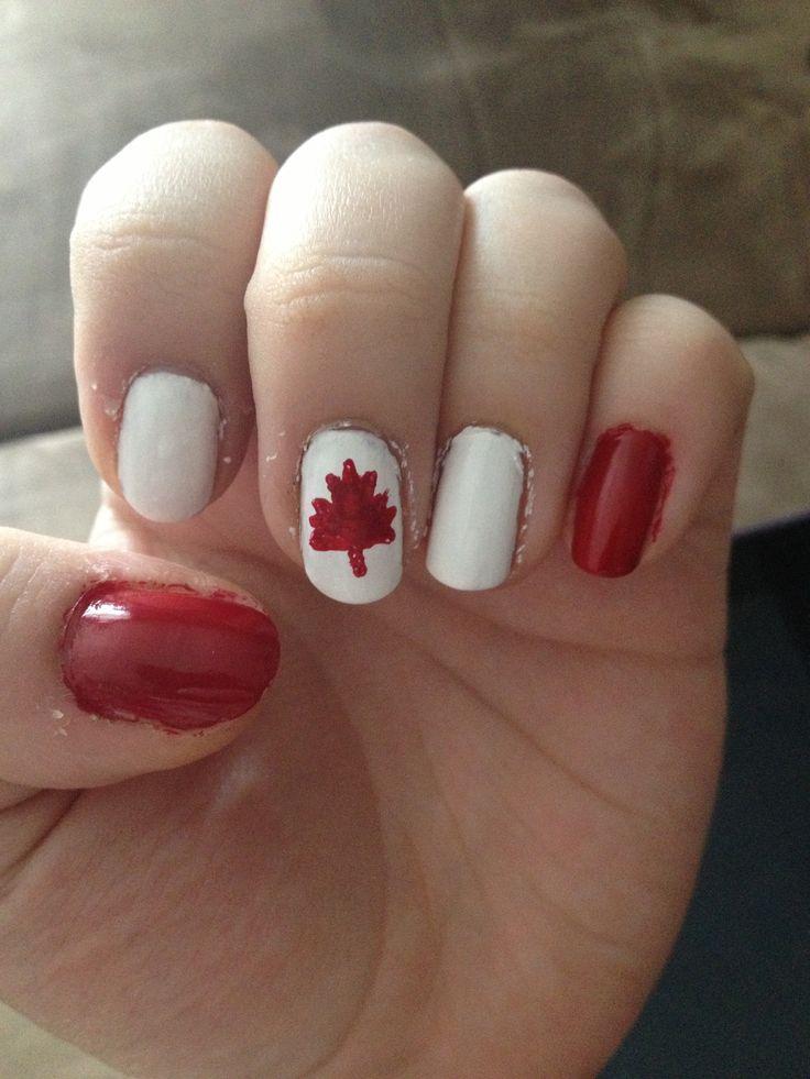 Canada Day nail art
