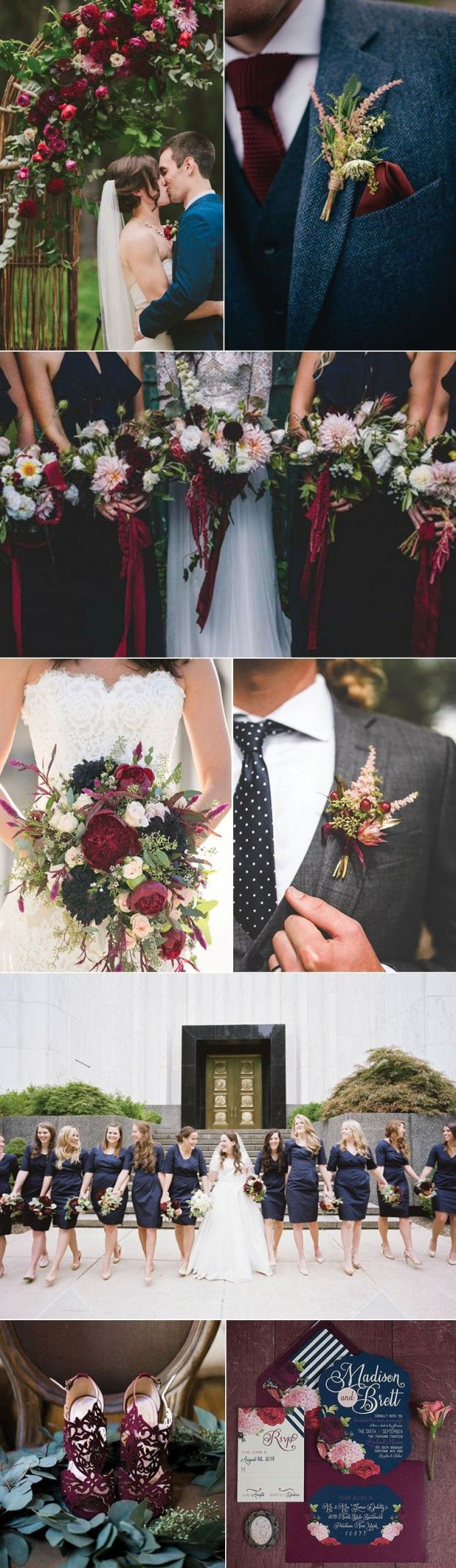 Ideas for a Marsala and Navy Blue Wedding